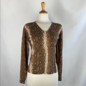 Neiman Marcus Snake Print Cashmere Sweater